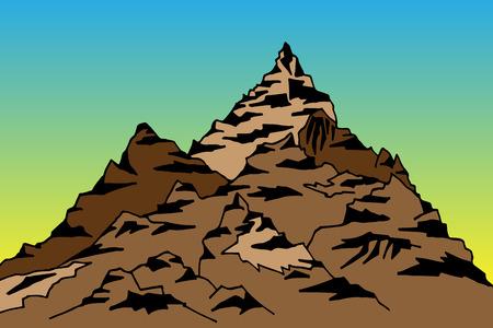 peaks: Illustration of a mountain and peaks against the sky Illustration