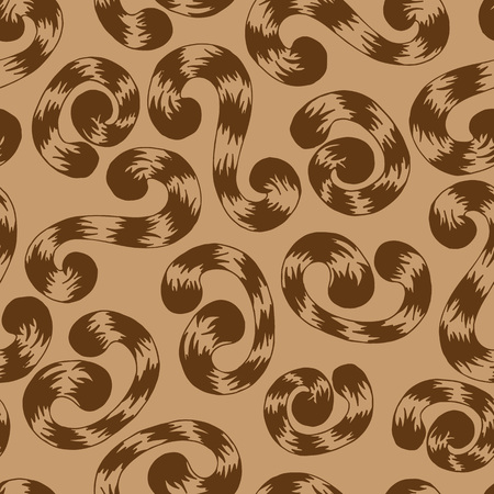 curlicues: Seamless pattern of brown whorls curlicues on brown background