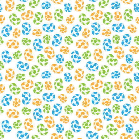 curlicues: Seamless pattern of colored whorls curlicues on white background