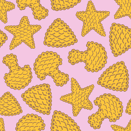 sweetness: Seamless pattern of cookies biscuits on pink background Illustration