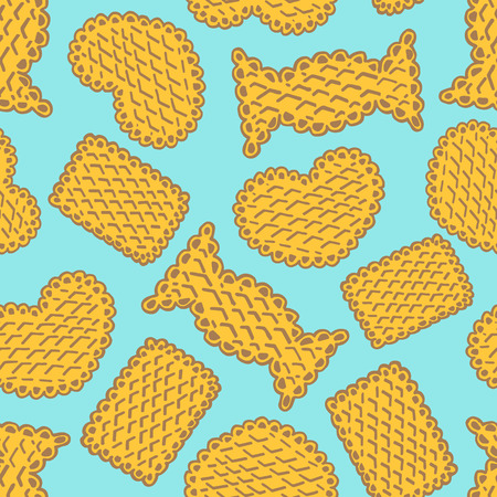sweetness: Seamless pattern of cookies biscuits on blue background Illustration
