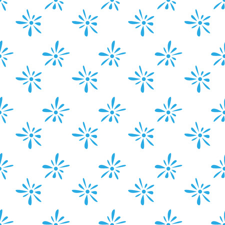 florets: Seamless pattern of blue florets petals on white background