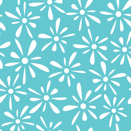 florets: Seamless pattern of white florets petals on blue background