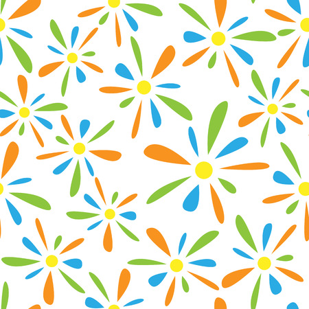 florets: Seamless pattern of colorful florets petals on white background