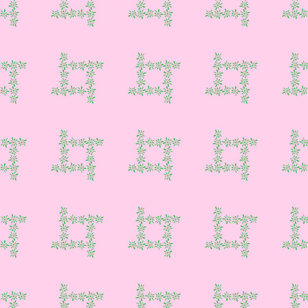 florets: Seamless pattern of green florets petals on pink background