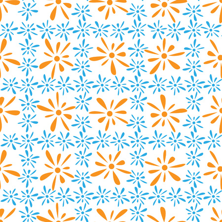 florets: Seamless pattern of orange blue florets petals on white background Illustration