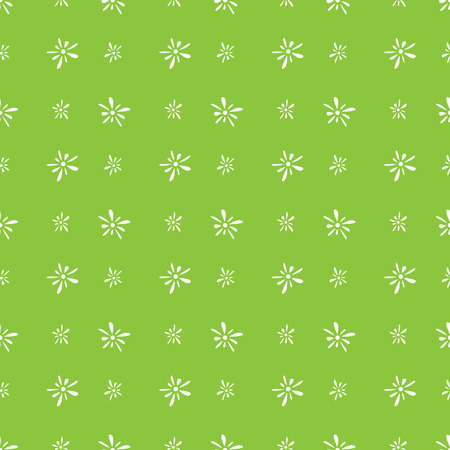 florets: Seamless pattern of white florets petals on green background