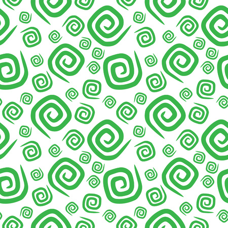 Seamless pattern green curlicues on white background Illustration