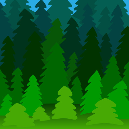 pine forest: Illustration of a pine forest near and long-range plan