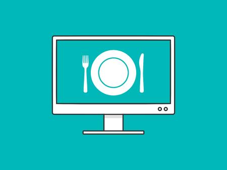 Online food ordering application on desktop computer screen monitor vector illustration