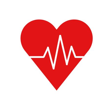Flat icon red heart pulse trace, medical service, life insurance, vector illustration.