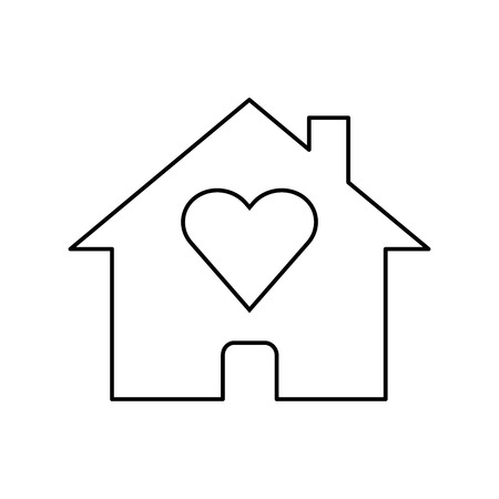Line icon house with heart shape within, love home symbol isolated on white background. Vector illustration.