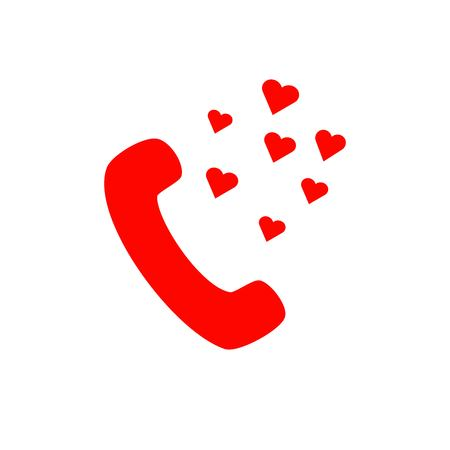 Flat icon Love Comes Out From Phone.Vector illustration. 일러스트