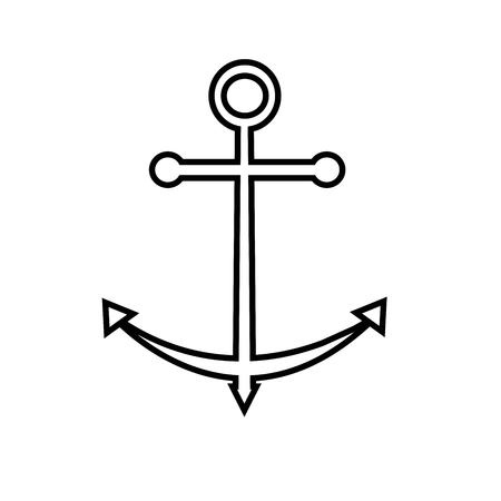 Line icon anchor isolated on white background. Modern vector illustration.