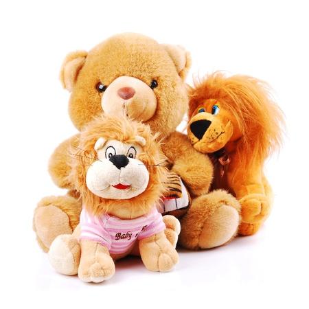 Plush toy animals isolated on a white background Stock Photo
