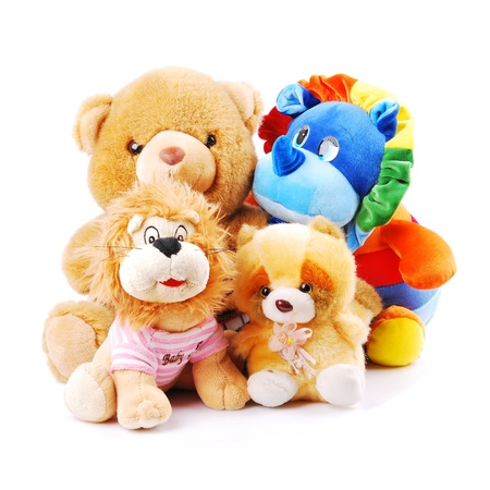 Plush toy animals isolated on a white background photo