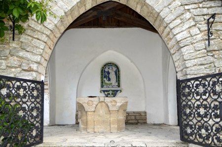 balchik: The Romanian Queen Castle in Balchik, Bulgaria  Icon made of porcelain with the Savior and Mother Mary