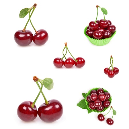 Ripe sour cherry berries isolated on white collage photo