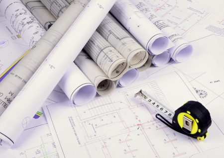 Architectural plans of the old paper ,tracing paper  Stock Photo