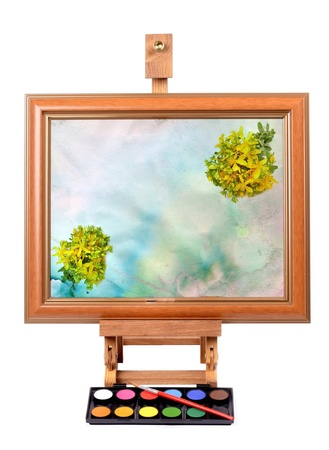 Frame with colorful canvas Easel for painting style Isolated on white background  photo