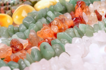 aventurine: Necklace from orange carnelian  silicon dioxide  and aventurine pink crystal and amber  Textured conceptual image