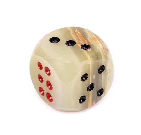 black onyx: Onyx  dices with red and black dots against white background