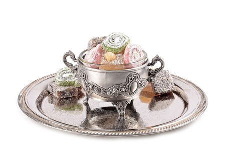 Turkish delight in a traditional metal container