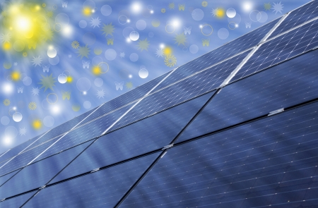 Solar energy panels, renewable solar energy  Sustainable development of the environment   photo