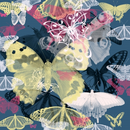 Seamless pattern with colorful butterflies flying photo