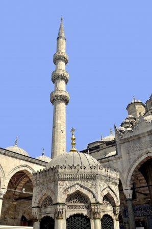 Domes of New Mosque  Yeni Cami Mosque  in Eminonu district of Istanbul, Turkey