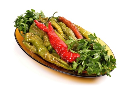 fried peppers salad in a dish photo