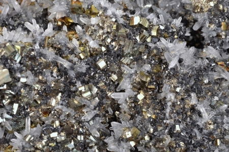 Pyrite and galena absorbed by quartz ,natural crystal,Close-up