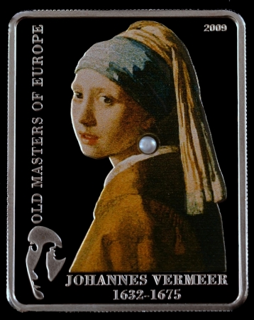 Silver Coin Investment 2009 Year Girl With a Pearl Earring  1665 ,  Vermeer  a black background