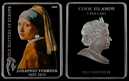 Silver Coin Investment 2009 Year Girl With a Pearl Earring  1665 ,  Vermeer  a black background  Stock Photo - 20288935