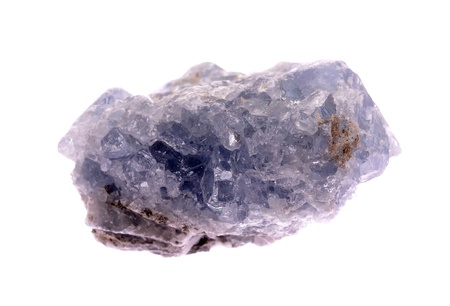 igneous: Celestine mineral isolated on a white background