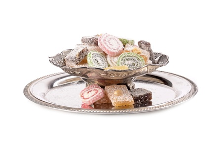 turkish delight: Turkish delight in a traditional metal container  Stock Photo