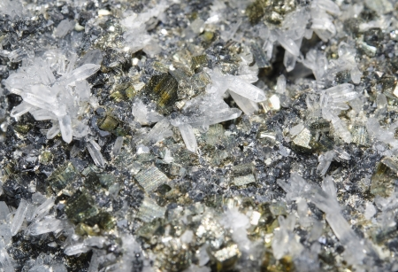 absorbed: Pyrite and galena absorbed by quartz ,natural crystal,Close-up