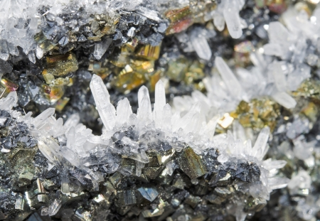 oscillations: Pyrite and galena absorbed by quartz ,natural crystal,Close-up