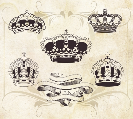 most popular: Collection of crowns, vintage illustration