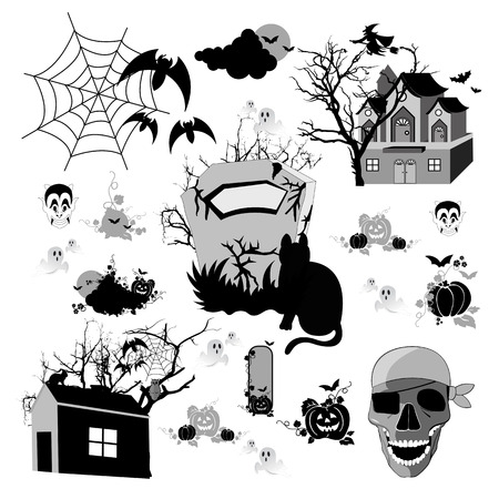 Set of halloween design elements  photo