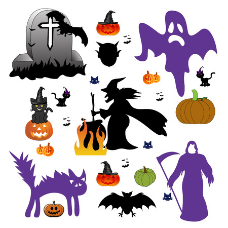 Set of halloween design elements  photo