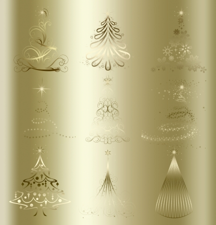 merrily: stylized Christmas tree on decorative floral gold background