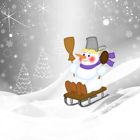snowy hill: snowman sledding on a snowy hill, illustration Stock Photo