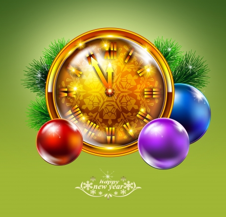 Christmas clock with bow green background, illustration  illustration
