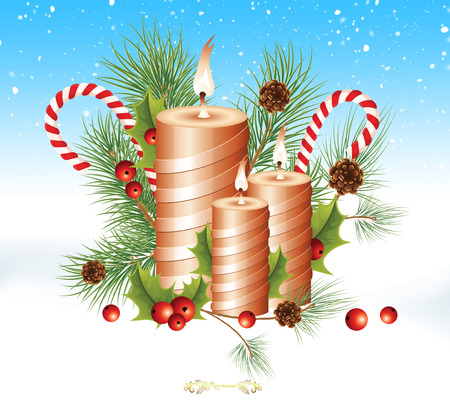 Illustration of Christmas Greeting Card,Christmas candle. illustration