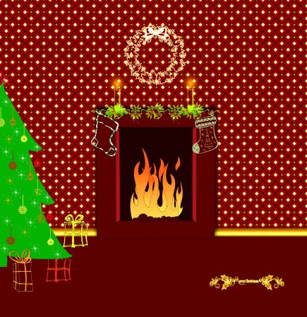 Christmas interior with hot fireplace and classical xmas gift photo