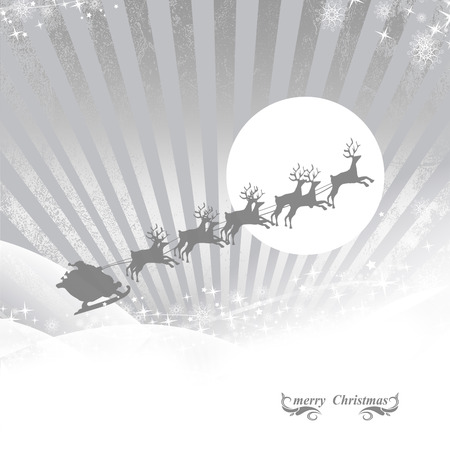 Santa Claus rides in a sleigh in harness on the reindeer ,silver background illustration illustration