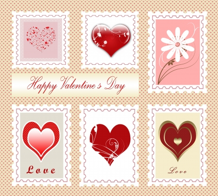 Colorful collection of Valentines day stamps , illustration illustration