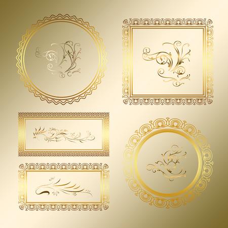 frames set gold background, illustration illustration