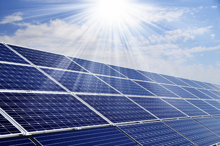 solar panels: Power plant using renewable solar energy with sun